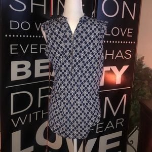 Beautiful navy blue and white patterned top